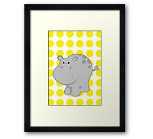 Hipopotam Baby Room - Yellow - Gray Framed Print