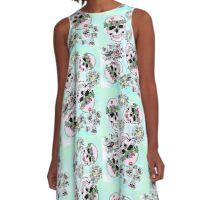 Pretty & tough, skulls & flowers A-Line Dress