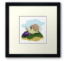 Snail and plums Framed Print