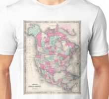 Vintage Map of North America (1864) Unisex T-Shirt