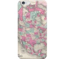 Vintage Map of North America (1864) iPhone Case/Skin