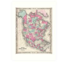 Vintage Map of North America (1864) Art Print