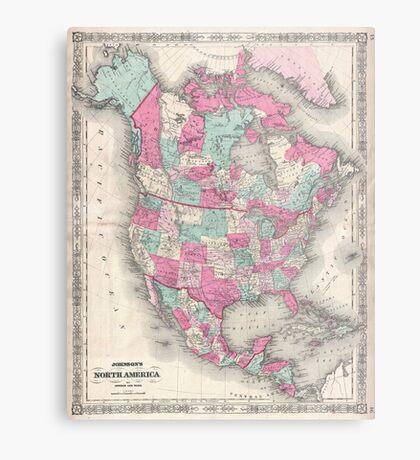Vintage Map of North America (1864) Metal Print
