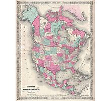 Vintage Map of North America (1864) Photographic Print