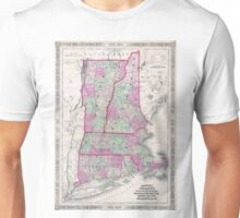 Vintage Map of New England States (1864) Unisex T-Shirt