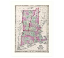Vintage Map of New England States (1864) Art Print