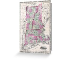 Vintage Map of New England States (1864) Greeting Card
