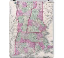 Vintage Map of New England States (1864) iPad Case/Skin