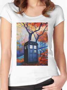 Tardis Autumn Alley Women's Fitted Scoop T-Shirt
