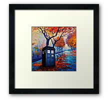 Tardis Autumn Alley Framed Print
