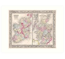 Vintage Map of Ireland and Scotland (1864) Art Print
