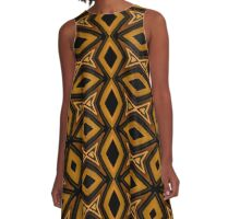 Tribal Diamonds Pattern Brown Colors Abstract Design A-Line Dress