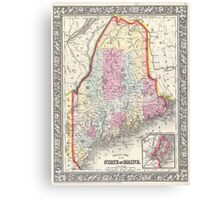 Vintage Map of Maine (1864) Canvas Print