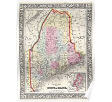Vintage Map of Maine (1864) Poster