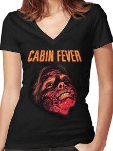 Cabin Fever Skull Face Women's Fitted V-Neck T-Shirt