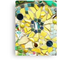 Mosaic Sunflower Mirror Canvas Print