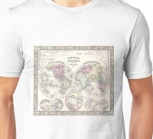 Vintage Map of The World (1864) 3 Unisex T-Shirt