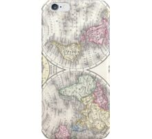 Vintage Map of The World (1864) 3 iPhone Case/Skin