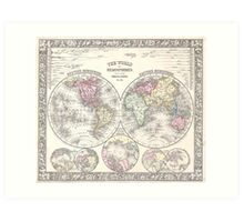 Vintage Map of The World (1864) 3 Art Print