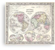 Vintage Map of The World (1864) 3 Canvas Print