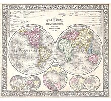 Vintage Map of The World (1864) 3 Photographic Print