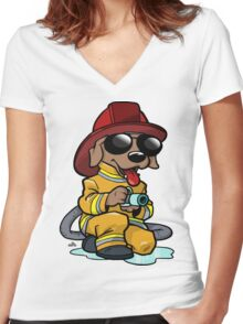 Fire fighter cartoon dog Women's Fitted V-Neck T-Shirt