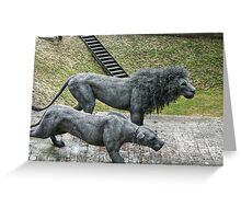 Lion Sculptures by the Tower Greeting Card