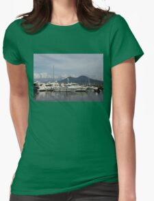 Vesuvius Volcano and the Boats in Naples, Italy Harbor Womens Fitted T-Shirt