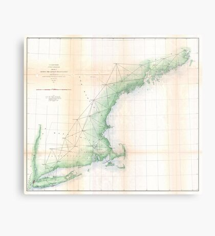 Vintage Coastal Map of New England (1864) Metal Print