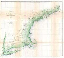 Vintage Coastal Map of New England (1864) Photographic Print