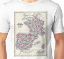 Vintage Map of Spain and France (1865) Unisex T-Shirt