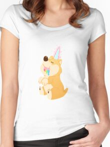 Magical Unicorn Shiba Women's Fitted Scoop T-Shirt