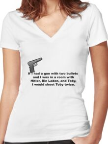 The Office, If I had a gun... Women's Fitted V-Neck T-Shirt