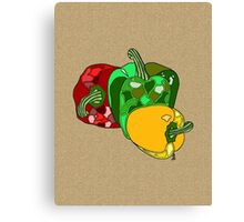 Peppers on linen Canvas Print