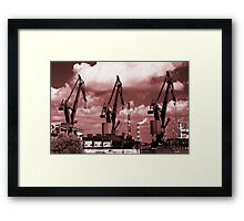 Gdansk Cranes in red  Framed Print