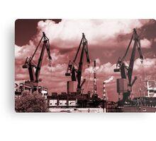 Gdansk Cranes in red  Metal Print