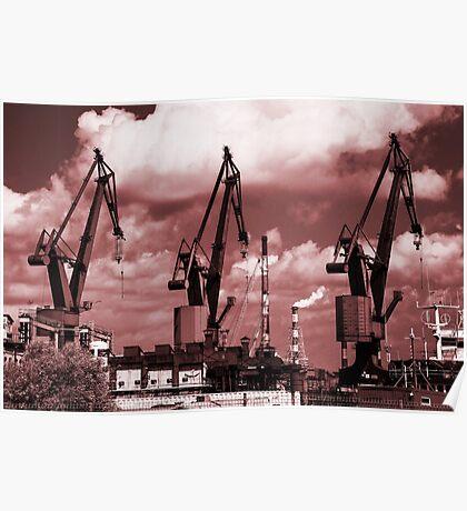 Gdansk Cranes in red  Poster