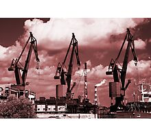 Gdansk Cranes in red  Photographic Print