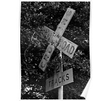 Railroad Crossing BW Poster