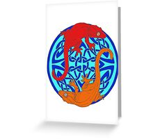 Celtic Crested Geckos In Blue Greeting Card