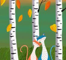 Cats - Forest - Birch Trees - Fall Sticker