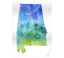 Watercolor Map of Alabama, USA in Blue and Green - Giclee Print of My Own Watercolor Painting Poster