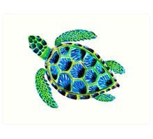 Psychedelic sea turtle in acrylic Art Print