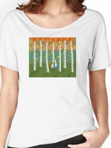 Cats - Forest - Birch Trees - Fall Women's Relaxed Fit T-Shirt