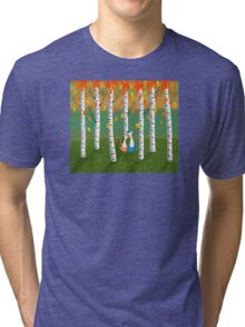Cats - Forest - Birch Trees - Fall Tri-blend T-Shirt