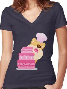 Baker Shiba Women's Fitted V-Neck T-Shirt