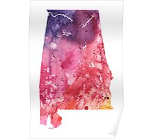 Watercolor Map of Alabama, USA in Orange, Red and Purple - Giclee Print  Poster
