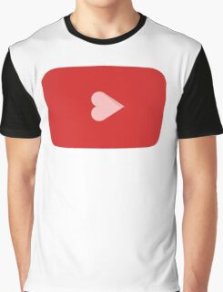 YouTube Heart Button Graphic T-Shirt