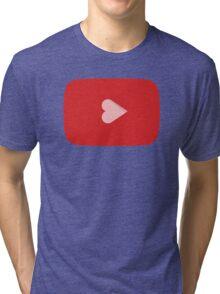 YouTube Heart Button Tri-blend T-Shirt