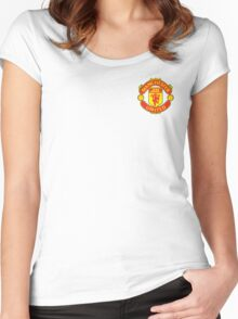 Manchester United Football Logo Women's Fitted Scoop T-Shirt
